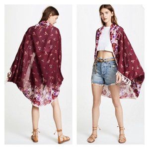 Free People Bali Wrapped In Blooms Red Kimono